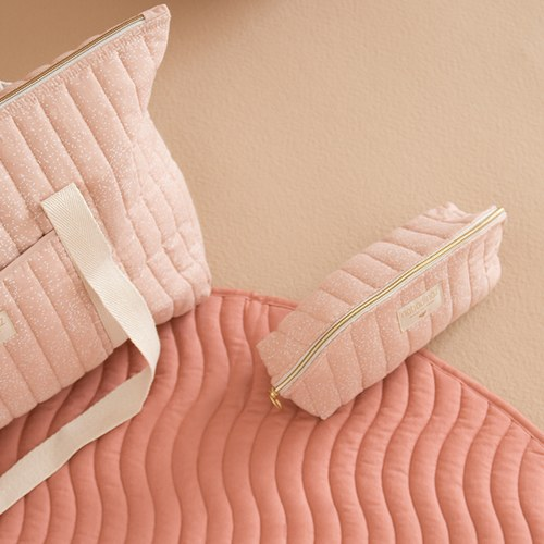 西班牙Nobodinoz有機棉 滿月圓形遊戲地毯 (直徑105公分、甜蜜粉)
