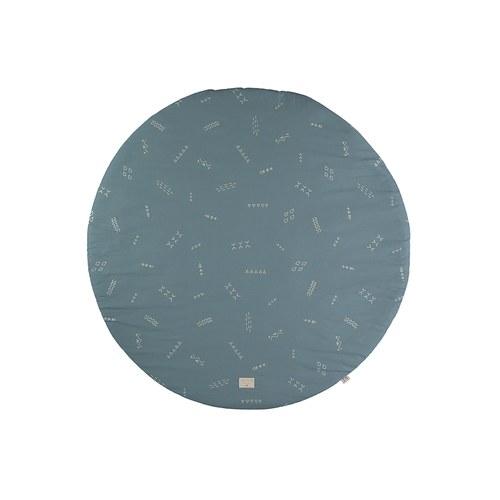 西班牙Nobodinoz有機棉滿月圓形遊戲地毯 (直徑145公分、綠色營地探險)