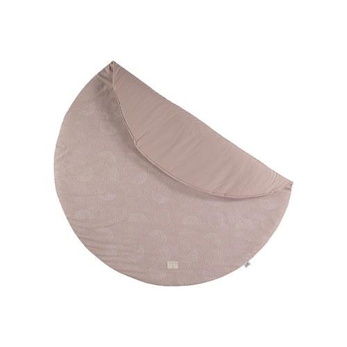 西班牙Nobodinoz有機棉 滿月圓形遊戲地毯 (直徑145公分、迷霧粉泡泡)