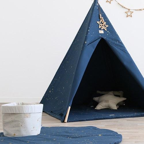 西班牙Nobodinoz有機棉 滿月圓形遊戲地毯  (直徑145公分、星空藍煙火)