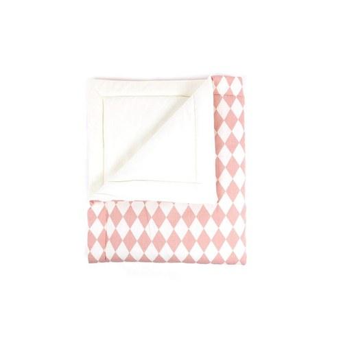 西班牙Nobodinoz 有機棉嬰幼兒棉被 (幾何方塊粉)