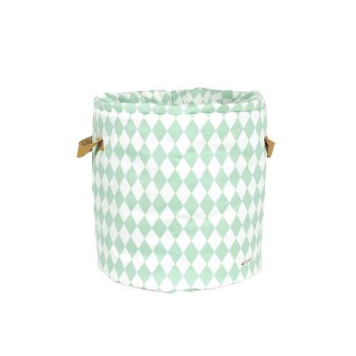 西班牙Nobodinoz 純棉玩具收納袋 (幾何方塊綠)