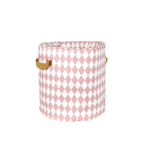 西班牙Nobodinoz 純棉玩具收納袋 (幾何方塊粉)