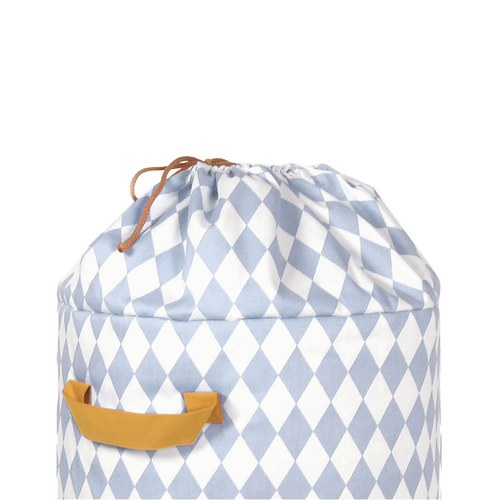 西班牙Nobodinoz 純棉玩具收納袋 (幾何方塊藍)