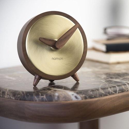 西班牙nomon ÁtomoSobremesa 核桃木精巧桌上型時鐘 (金)