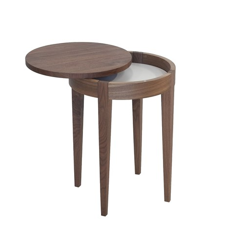 波蘭Sits 收納款核桃木圓形邊桌 (直徑40公分)