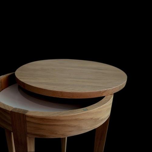 波蘭Sits 收納款橡木圓形邊桌 (直徑40公分)