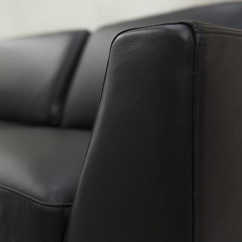 波蘭Sits 幾何方塊皮革三人沙發 (黑)