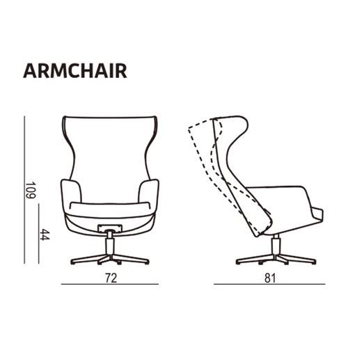 波蘭Sits 尊寵限定優雅線條旋轉扶手椅皮革干邑棕
