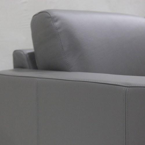 波蘭Sits 家庭日時光皮革右向L型沙發 (鐵灰)