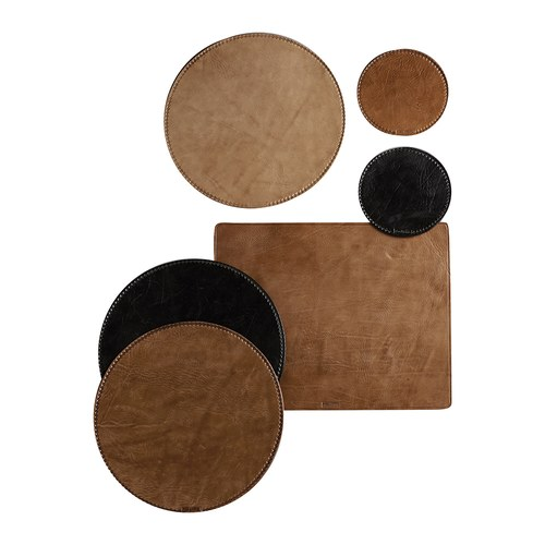 丹麥tineKhome 手工皮革圓形餐墊 (黑、直徑40公分)