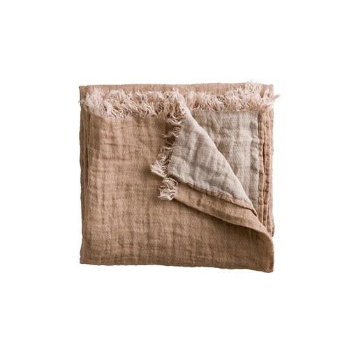 丹麥tineKhome 亞麻質感雙色披毯 (粉膚+米白)