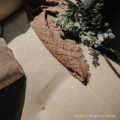 丹麥tineKhome 亞麻質感雙色披毯 (茶棕+深藍)