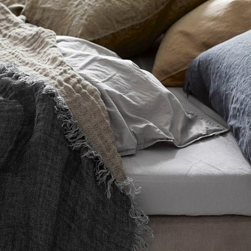 丹麥tineKhome 亞麻質感素色披毯 (魅影灰)