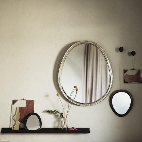 丹麥tineKhome 鵝卵石造型掛鏡 (銀、高60公分)