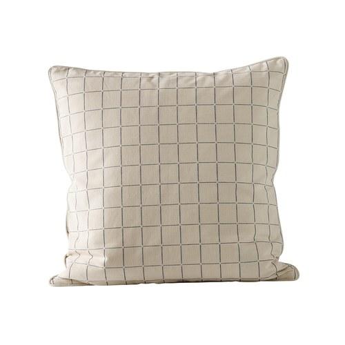 丹麥tineKhome 格紋方形棉質靠枕 (深藍、長50公分)