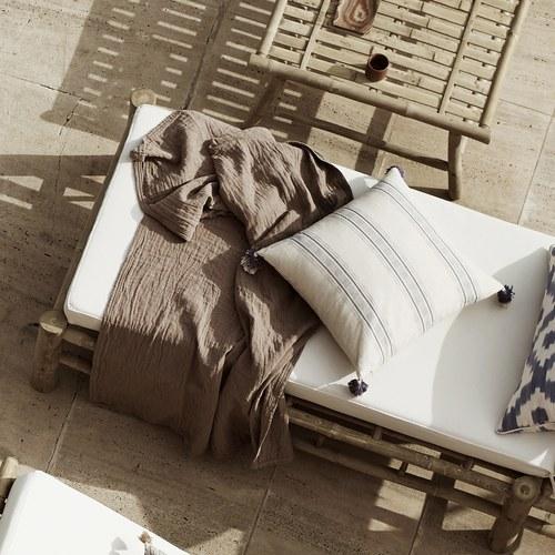 丹麥tineKhome 流蘇線條方形棉質靠枕 (深藍、長50公分)