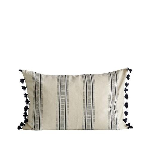 丹麥tineKhome 流蘇線條長形棉質靠枕 (深藍、長60公分)