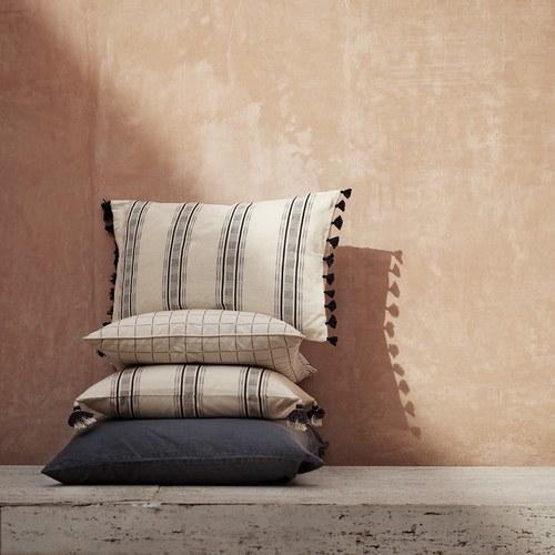 丹麥tineKhome 流蘇線條方形棉質靠枕 (洋藍、長50公分)