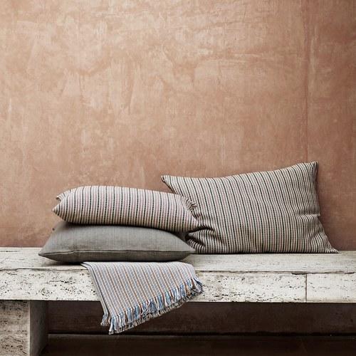 丹麥tineKhome 編織條紋棉質披毯 (藍)