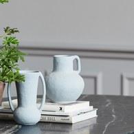 丹麥Nordal 手作風質樸花器 (灰籃)