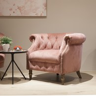 英國Alexander&James 古典天鵝絨單人沙發 (薔薇粉)