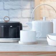 英國LSA 木盤白瓷咖啡杯2入組