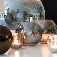 英國LSA 霓彩亮釉球形花瓶 太空銀