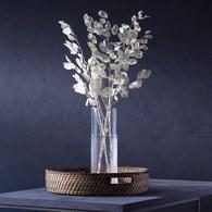 英國LSA 編織摺紋玻璃花器 (透明、高20公分)