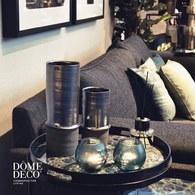 比利時Dome Deco 髮絲紋柱狀花器(墨黑、高30公分)