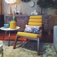 葡萄牙Mambo 暖黃色波浪椅墊休閒椅