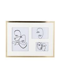 丹麥Lene Bjerre 手繪人像三格相框掛畫