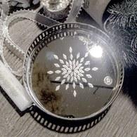 丹麥LeneBjerre 鏤空銀雕鏡射托盤(直徑16公分)