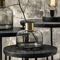 丹麥Nordal 鑲金圈玻璃花器 (灰、高18公分)