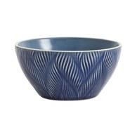 丹麥 Nordal 葉紋刻痕餐碗 (藍)