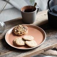 丹麥Nordal 仿石陶瓷餐盤 (橘、直徑22公分)