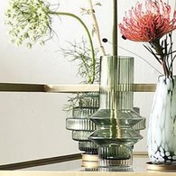 丹麥Nordal 羅馬柱藝術玻璃花器 (綠、高21公分)
