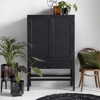 丹麥Nordal 簍空編織柚木收納櫃(黑)