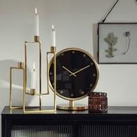 丹麥Nordal 質感黑金桌上型立鐘