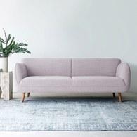 丹麥Sketch 柔軟線條布面三人沙發 (淺粉)