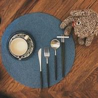 丹麥tineKhome 純棉細織圓形餐墊 (靛藍)