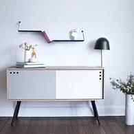 丹麥WOUD Geyma簡約拼色櫥櫃 (灰+白)