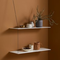 丹麥WOUD STEDGE仛寂感雙層壁掛置物架(白、橡木)