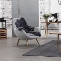 波蘭Sits 北歐圓弧布面單人沙發 (灰米)