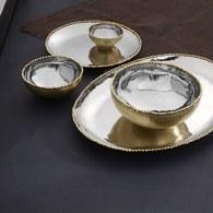 美國Michael Aram 熔岩系列橢圓形托盤/金邊