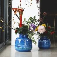 義大利Bitossi Riminiblu墨水罐造型花器 (高20公分 )