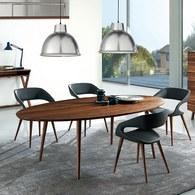 義大利OliverB EAGLE橢圓形實木餐桌 (核桃木)