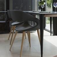 義大利OliverB 現代風流線懸空單椅 (黑灰)