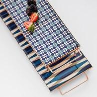 西班牙GanRugs 復古菱紋花磚高架托盤 (藍)