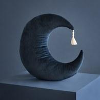 西班牙Nobodinoz 晚安月亮靠枕 (絨布、夜晚藍)